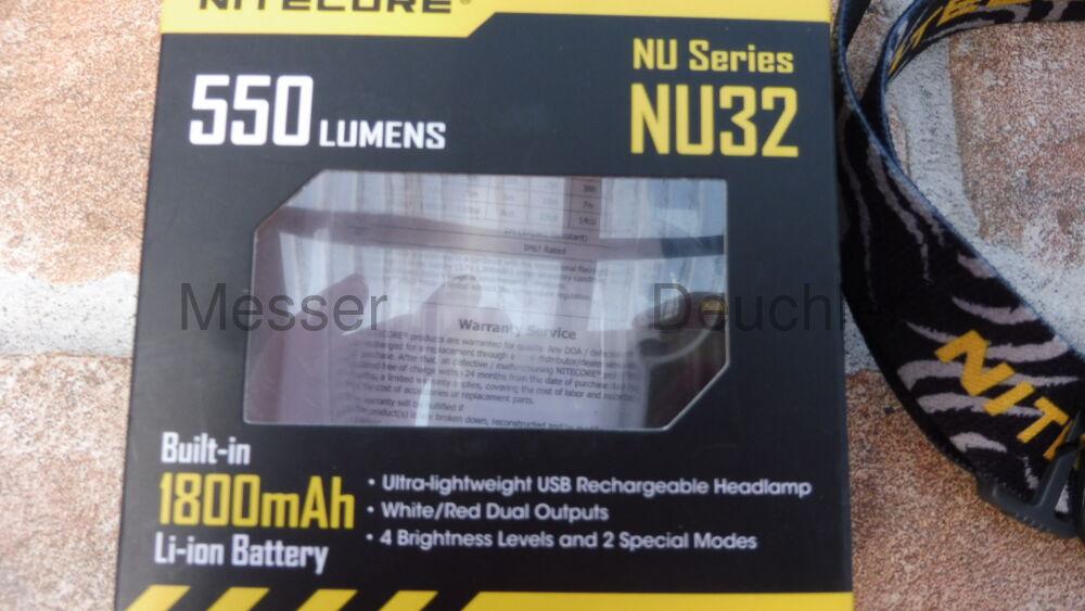 Nightecore NU32 leichtgewichtige, aufladbare Stirnlampe